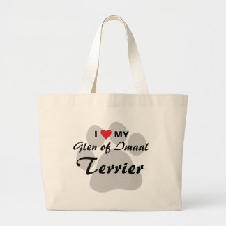 I Love (Heart) My Glen of Imaal Terrier Pawprint Canvas Bag