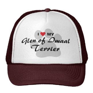 I Love (Heart) My Glen of Imaal Terrier Pawprint Mesh Hats