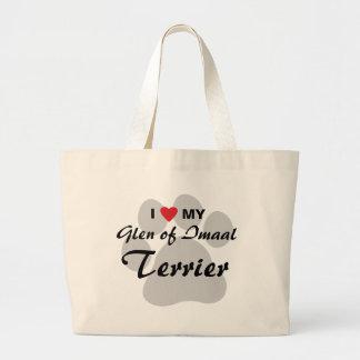 I Love (Heart) My Glen of Imaal Terrier Pawprint Canvas Bag