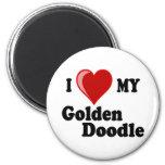 I Love (Heart) My Golden Doodle Dog 6 Cm Round Magnet