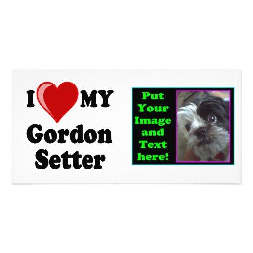 I Love (Heart) My Gordon Setter Dog Photo Card