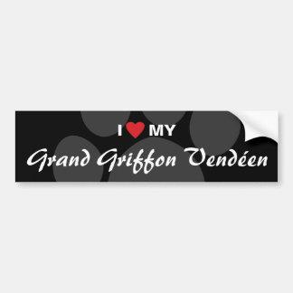I Love (Heart) My Grand Griffon Vendeen Bumper Sticker