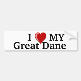 I Love (Heart) My Great Dane Dog Bumper Sticker