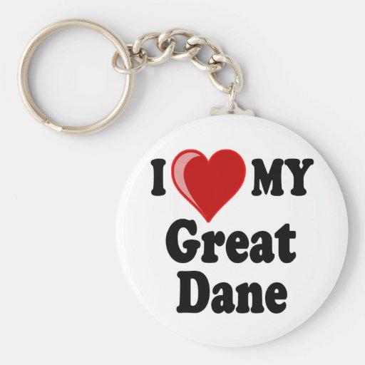 I Love (Heart) My Great Dane Dog Key Chains