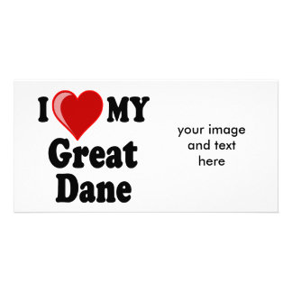 I Love (Heart) My Great Dane Dog Picture Card