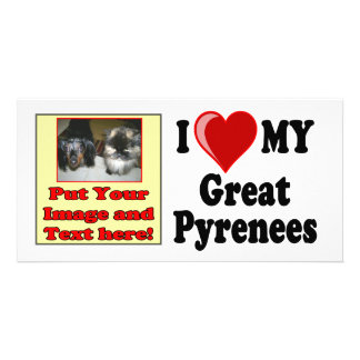 I Love (Heart) My Great Pyrenees Dog Personalized Photo Card