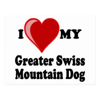 I Love (Heart) My Greater Swiss Mountain Dog Post Cards