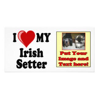 I Love Heart My Irish Setter Dog Customized Photo Card