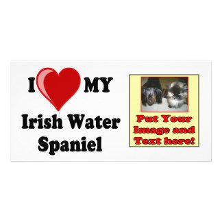 I Love Heart My Irish Water Spaniel Dog Custom Photo Card