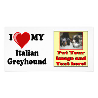 I Love (Heart) My Italian Greyhound Dog Photo Cards