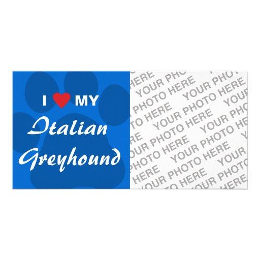 I Love (Heart) My Italian Greyhound Picture Card