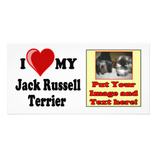 I Love (Heart) My Jack Russell Terrier Dog Customized Photo Card