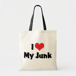 I Love Heart My Junk - Antique Picker Collector Budget Tote Bag