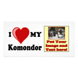 I Love (Heart) My Komondor Dog Picture Card