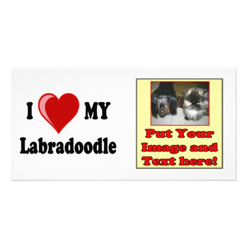 I Love (Heart) My Labradoodle Dog Picture Card