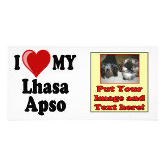 I Love (Heart) My Lhasa Apso Dog Photo Greeting Card