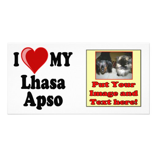 I Love (Heart) My Lhasa Apso Dog Photo Greeting Card