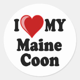 I Love (Heart) My Maine Coon Cat Classic Round Sticker