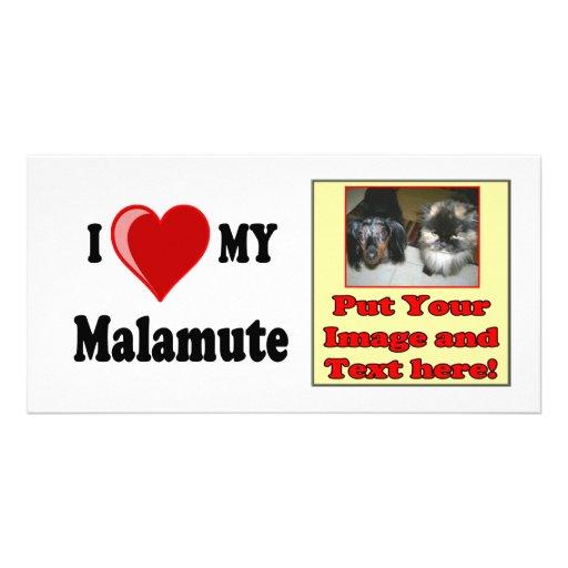 I Love (Heart) My Malamute Dog Photo Cards