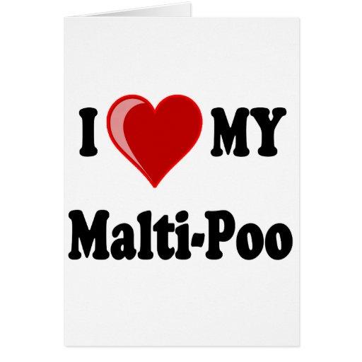 I Love (Heart) My Malti-Poo Dog Cards