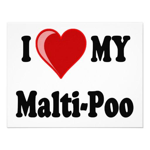 I Love (Heart) My Malti-Poo Dog Personalized Invitations