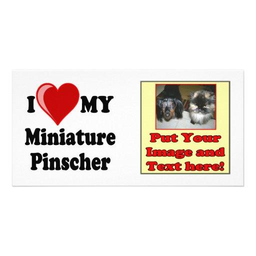 I Love (Heart) My Miniature Pinscher Dog Photo Cards