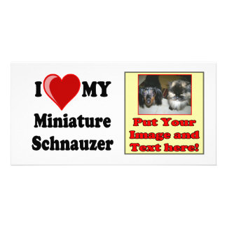 I Love (Heart) My Miniature Schnauzer Dog Custom Photo Card