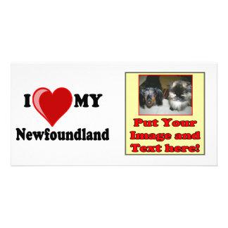 I Love Heart My Newfoundland Dog Photo Card Template