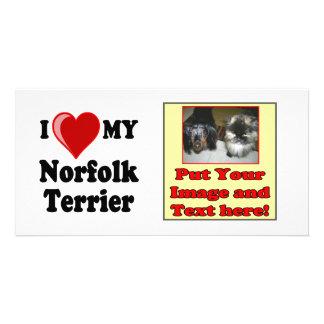 I Love (Heart) My Norfolk Terrier Dog Photo Card Template