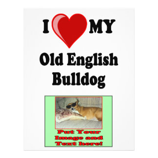 I Love (Heart) My Old English Bulldog Dog Full Color Flyer
