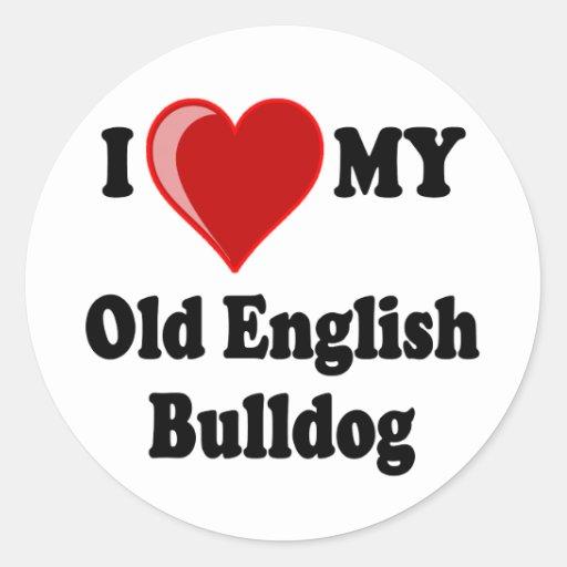 I Love (Heart) My Old English Bulldog Dog Round Sticker