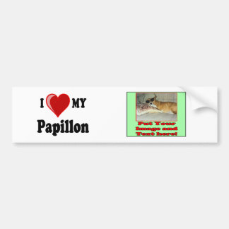 I Love (Heart) My Papillon Dog Bumper Sticker