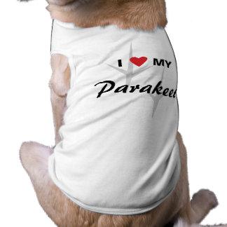 I Love (Heart) My Parakeet Bird Tracks Design Sleeveless Dog Shirt