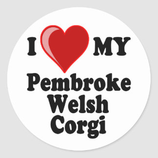 I Love (Heart) My Pembroke Welsh Corgi Dog Classic Round Sticker