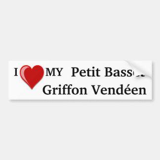 I Love (Heart) My Petit Basset Griffon Vendéen Dog Car Bumper Sticker