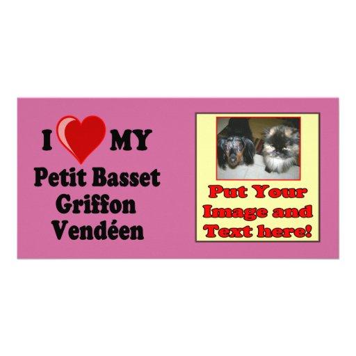 I Love (Heart) My Petit Basset Griffon Vendéen Dog Custom Photo Card