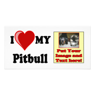 I Love (Heart) My Pitbull Dog Picture Card