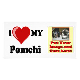 I Love (Heart) My Pomchi Dog Personalized Photo Card
