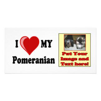 I Love (Heart) My Pomeranian Dog Picture Card