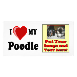 I Love Heart My Poodle Dog Photo Cards