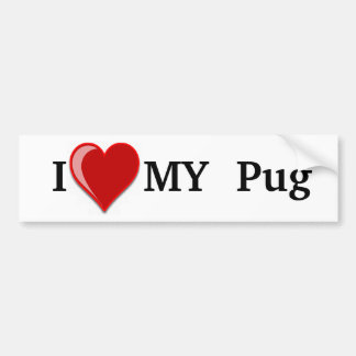 I Love (Heart) My Pug Dog Bumper Sticker