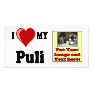 I Love Heart My Puli Dog Personalized Photo Card