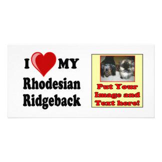 I Love (Heart) My Rhodesian Ridgeback Dog Photo Greeting Card