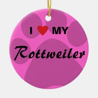 I Love (Heart) My Rottweiler Pawprint Ceramic Ornament