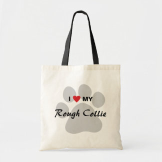 I Love (Heart) My Rough Collie Pawprint Tote Bag