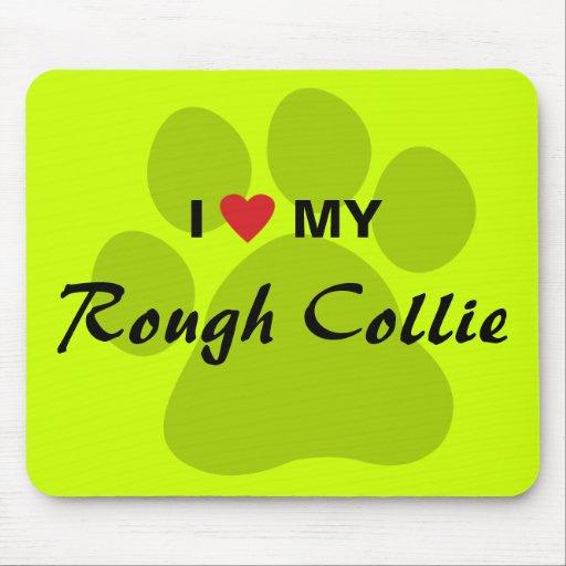 I Love (Heart) My Rough Collie Pawprint Mousepads
