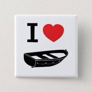I love heart my rowing / row boat 15 cm square badge