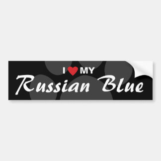I Love (Heart) My Russian Blue Bumper Sticker