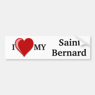 I Love (Heart) My Saint Bernard Dog Bumper Stickers