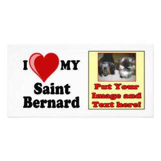 I Love (Heart) My Saint Bernard Dog Photo Cards